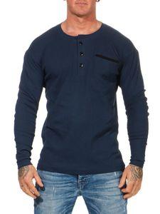 Herren Basic Langarm Shirt  Longsleeve, Dunkelblau M/50