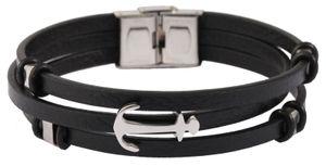 Akzent Lederband 3-reihig schwarz Armband 21 cm Band verstellbar