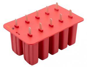 Eisformen aus Silikon mit 10 Holzstäbchen für Eis am Stiel, rot