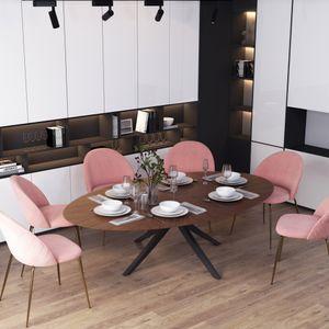 Selsey Küchentisch ODILIO - Esstisch in Nussbaum-Optik mit schwarzem Gestell aus Kautschukholz, oval 180 x 110 cm