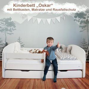 Alcube Kinderbett 70x140 I 80x160 I 80x180 cm Weiß mit Schublade Bettkasten Matratze und Rausfallschutz