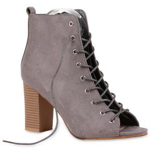 Mytrendshoe Damen Stiefeletten High Heels Blockabsatz 79609, Farbe: Grau, Größe: 36