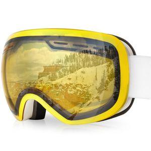arteesol Skibrille Snowboardbrille Goggle UV-Schutz Schneebrille Anti Fog Sport Schutzbrille UV400 Weiß Rahmen Gelb Linse
