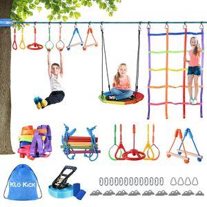 Klokick 15M Ninja Slackline Set für Kinder mit Strickleiter, Zugringen, Kletternetz und Nestschaukel Bis zu 113kg