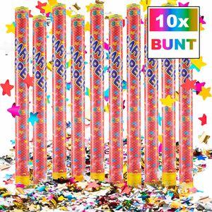 Konfettikanone - XXL Party Popper - Buntes  Lametta Metallic 100cm XXL - 10 Stk