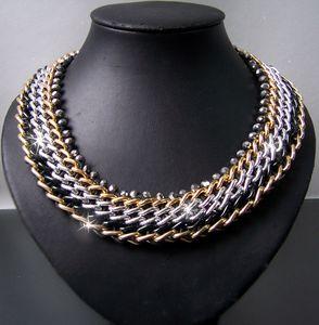 K683* Statement HalsKette Collier ModeSchmuck gold silber schwarz 58cm