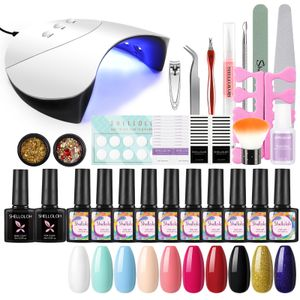 UV Gele 36W UV Lampe Nägel set 10 Farben gel für Nagel-Design nagellack türkis uv gellack set  blue sky nails Nail Art