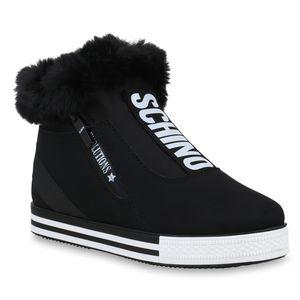 Mytrendshoe Damen Plateau Sneaker Warm Gefütterte Winter Turnschuhe Kunstfell 824589, Farbe: Schwarz, Größe: 40