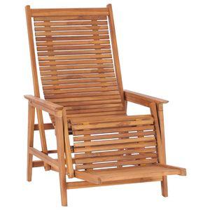 vidaXL Garten-Loungestuhl mit Fußablage Teak Massivholz