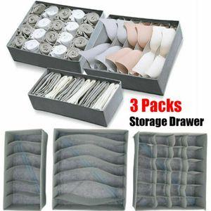 3 Stück / Set Faltbarer Unterwäsche Organizer BH Stoff Socken Box Aufbewahrungsschublade Teiler-Grau