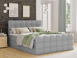 Boxspringbett Best Lux mit Fußteil, 2 Bettkästen, Bonell-Matratze und Topper (Grau (Inari 91), 160 x 200 cm)