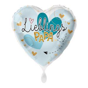 1 Folienballon Vatertag Lieblingspapa Birthday Herz blau weiß ca 43 cm ungefüllt Ballongas geeignet