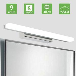 Kimjo LED Spiegelleuchte 9W Kaltweiß 40CM, Bad Spiegellampe IP44 für Badzimmer 900LM, Badlampe Badleuchte Schminklicht Schrankleuchte 6000K für Badzimmer und Wandbeleuchtung Spritzwassergeschützt