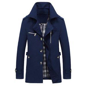 Herren Winter Warme Jacke Mantel Outwear Slim Long Trench Buttons Mantel Größe:M,Farbe:Navy