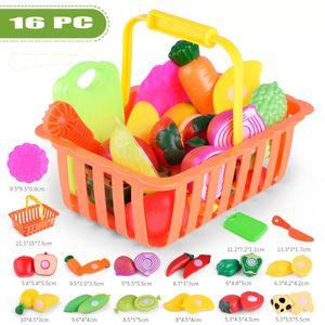 16PC Kinder geben Rollenspiel Küche Obst Gemüse Lebensmittel Spielzeug Schneiden Geschenk Spielzeug