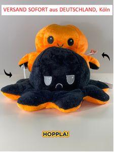 Oktopus Stimmung Krake  wendbares Plüschtier Stofftier  20cm     Schwarz Orange