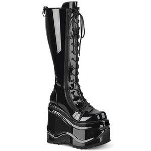 Demonia WAVE-200 mittelhoher Stiefel lack schwarz, Größe:EU-38 / US-8 / UK-5