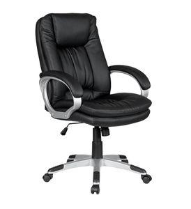SalesFever Bürostuhl | Bezug Kunstleder | Gestell Metall verchromt | höhenverstellbar | B 66 x T 74 x H 104 cm | schwarz-silber