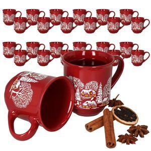 36er Set Glühweinbecher 0,2L rot Weihnachtslandschaft Porzellan Glühweintassen geeicht