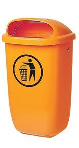 SULO Abfallbehälter 50l Kunststoff orange Höhe 395 x Breite 250 x Tiefe 650mm mit Regenhaube - 1052434