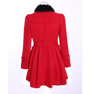 Frauen Warm Slim Coat Jacke Dicker Parka Mantel Lange Winter Outwear Größe:XXXL,Farbe:Rot