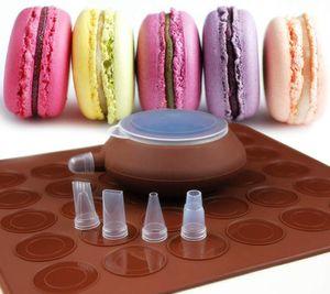 Backset, Macaron Silikonmattenform mit 48 Kapazitäten Antihaft-Kit und dekorativer Spritzgefäß mit 4-teiligen Düsen, Sonstige Backformen