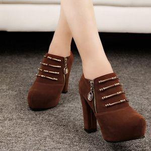 Damen Damen Herbstschuhe Mode Reißverschluss Solid Loafers Einzelschuhe Kurze Stiefel Größe:38,Farbe:Braun
