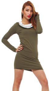 Fraid Japan Style von Mississhop Damen Kleid Bluse Tunika Longshirt mit Kapuze Olive-Ecru M