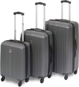 BRUBAKER 3er Set ABS Reisekoffer - Koffer Trolleys - Hartschale - M-L-XL-Set - je 4 Rollen 360° - 55/67/78 cm - Grau