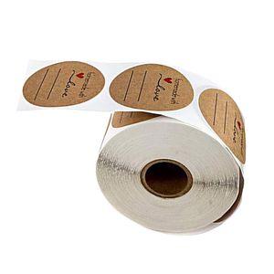 500 Stk. Kraft Selbstgemacht mit Liebe Aufkleber Label Papier Abdichtung Aufkleber Etiketten Rund Selbstklebend Geschenkaufkleber