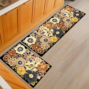 Küchenteppich Läufer, Küchenläufer rutschfest Waschbar Teppich  Flur Küchenmatte PVC für Wohnzimmer, Schlafzimmer, Küche Badezimme
