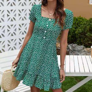 Mode Damen Sommer Blumendruck Kurzarm Kleid Knopf Langes Kleid Größe:XL,Farbe:Grün