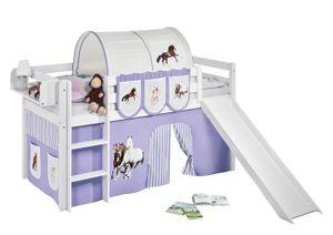 Lilokids Spielbett JELLE Pferde Lila Beige - Hochbett - weiß - mit Rutsche und Vorhang - Maße: 113 cm x 208 cm x 98 cm; JELLE3054KWR-PFERDE-LILA