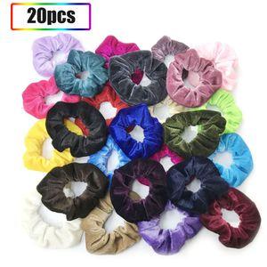 20 Stücke Flanell Elastisches Haarband für Frauen Stirnband Samt Stretchy Multi-color Gummibänder Haarschmuck