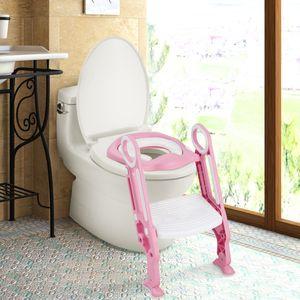 COSTWAY Kinder Toilettensitz höhenverstellbar, Kindertoilette faltbar, Toilettentrainer mit Leiter und Griffe, Töpfchentrainer zum Toilettentraining für Kleinkinder von 1 bis 5 Jahre Rosa