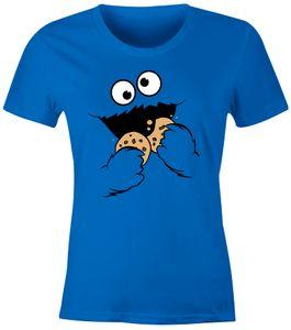 Damen T-Shirt Krümelmonster Keks Cookie Monster Fasching Karneval Kostüm Slim Fit Moonworks® blau M