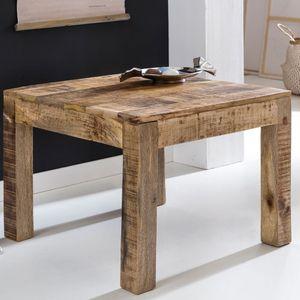 WERAN Couchtisch Massiv-Holz Mango Natur | Landhaus-Stil Wohnzimmertisch Rustikal Kaffeetisch