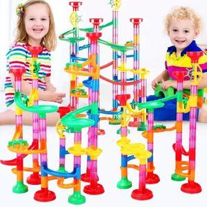 Kugelbahn - 105pcs Mehrfarbige Murmelbahn Marble Run Set mit Bahnelementen und Glasmurmeln, Mint Lernspielzeug und Konstruktionspielzeug für Kinder Mädchen Jungen 4+