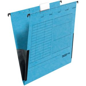 25 x FALKEN Hängetasche DIN A4 UniReg Blau 230 g/m² Kraftkarton mit Leinenfröschen