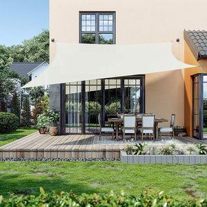 SONGMICS Sonnensegel 4 x 4 m, Sonnenschutz aus reißfestem HDPE-Kunststoff, wetterbeständiger UV-Schutz, luftdurchlässig, Garten, Balkon, Terrasse, Camping, rechteckig, 2 m Seile, beige GSS044M01