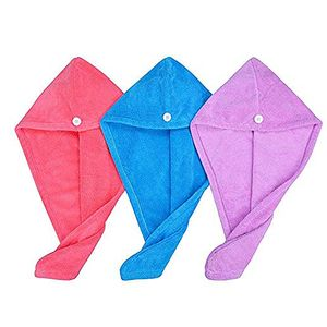 CANDeal Haarturban Handtuch für die Haare Haar-Handtuch Turban 3er Set schnelltrocknendes Handtuch, Zufällige Farbe