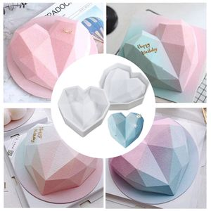 2 stk Diamant-Kuchenform, Diamant-Herz-Kuchenform, Kuchenform zum Backen in Herzform, Diamant-Herz-Liebes-Form, Silikon-Kuchenform, 3D-Silikon-Tabletts, Mousse, Dessert-Backform