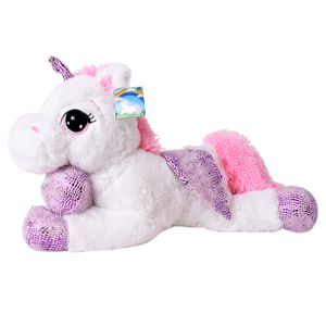 TE-Trend Einhorn Kuscheltier Pferd Plüschtier Stofftier Weiß 60 cm Unicorn Glitzerhorn Flügel Hufe Mehrfarbig