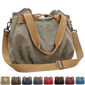 Handtasche Damen Canvas Schultertasche Multifunktionale Umhängetaschen Casual Hobo Groß Taschen für Arbeit Schule Beach Shopper Armeegrün