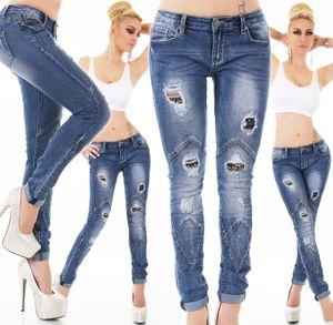 Röhren Jeans Destroyed mit Löcher und Abnähungen, Farbe: Blau, Größe: 40