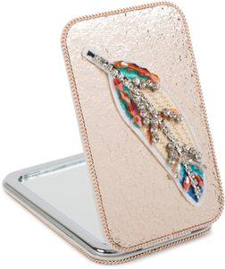 styleBREAKER eckiger Taschenspiegel gestickte Strass Feder, Perlen und Kette, 1X / 3X Vergrößerung, Kompaktspiegel, klappbar, 2 Seiten 05070007, Farbe:Rosegold metallic