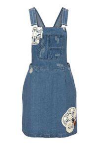 Aniston Damen Jeans-Latzkleid mit Spitze, blau, Größe:40