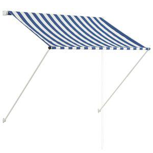 dereoir Einziehbare Markise 150 x 150 cm Blau und Weiß