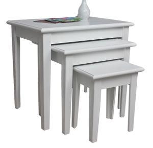 3x Tisch Beistelltisch antik weiß Landhaus Shabby Chic Nachttisch SET Konsole