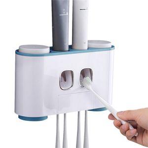 Hikeren Zahnbürstenhalter,Automatisch Wand Montiert Zahnpastaspender set, Zufällige Lieferung in pink und blau